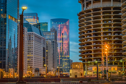 chicago hdr illinois nikon nikond5300 architecture city clouds geotagged glass lights morning reflection reflections sky skyscrapers sunrise windows unitedstates marinacity