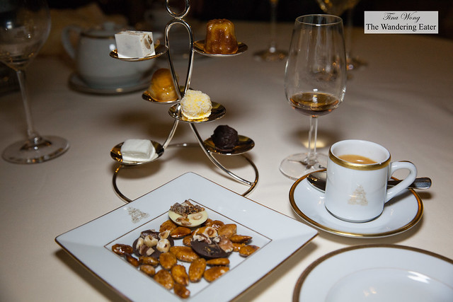 My double espresso, Blandy's 5 Year Old Bual Madeira, and mignardises- caramelized almonds and chocolate mendiants, nougat, housemade bonbons, Canelé