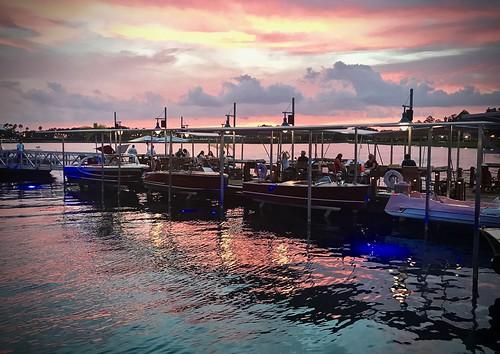 boathouse boats sunset restaurant disneysprings disneyworld florida reflection fv10