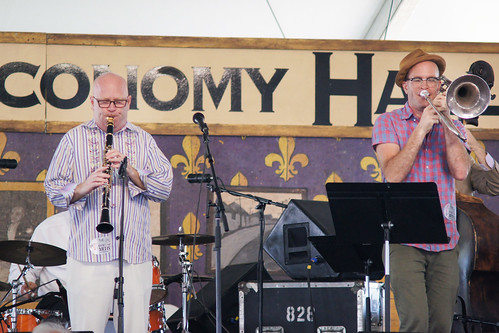 Tim Laughlin and Charlie Halloran in the Economy Hall Tent - Day 5 Jazz Fest - May 5, 2017. Photo by Bill Sasser.