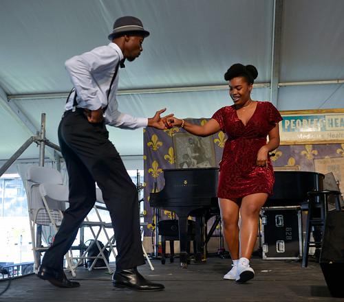 Jazz Fest Dancers w. Doyle Cooper Jazz Band on Day 4 Jazz Fest May 4, 2017.  Photo by Charlie Steiner.