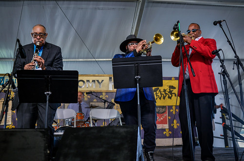 Jazz Fest Day 4 Louis Armstrong Tribute. Dr. Michael White, Nicholas Payton, James Andrews. Photo by Charlie Steiner.