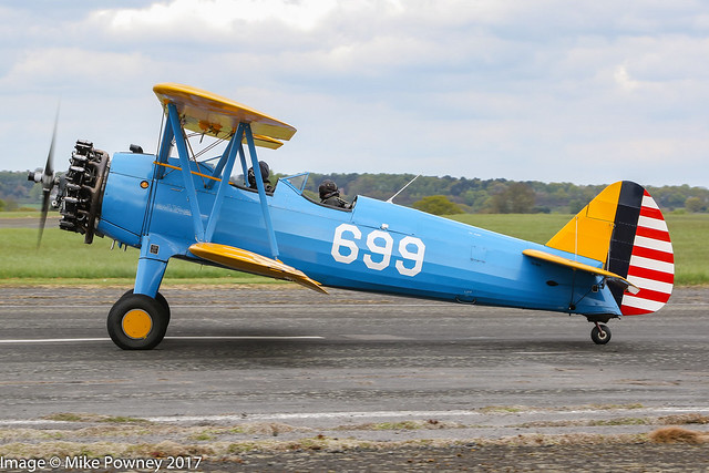 G-CCXB - 1942 build Boeing B75N1 Stearman, taxiing for departure at Halfpenny Green during Radials, Trainers & Transports 2017