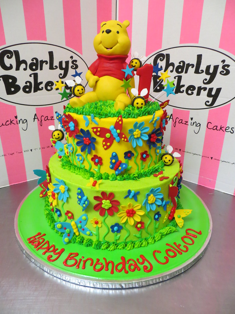 Fabulous 2 Tier Winnie The Pooh Themed 1St Birthday Cake With 3D Figurine Birthday Cards Printable Opercafe Filternl