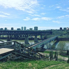 we had to do a lot of stairs to get here :runner:‍♀️:herb::sun_with_face::blush: - - - - - #yeg #edmonton #exploreedmonton #exploreyeg #myedmonton #mycity #rivervalley #getoutside #spring #blueskies #fitness #motivation #running #stairs #fitbit #getfit #e
