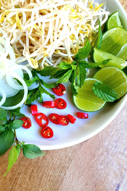 Vietnamese beef pho rice noodle broth #chilli #lime #mint #vietnamese