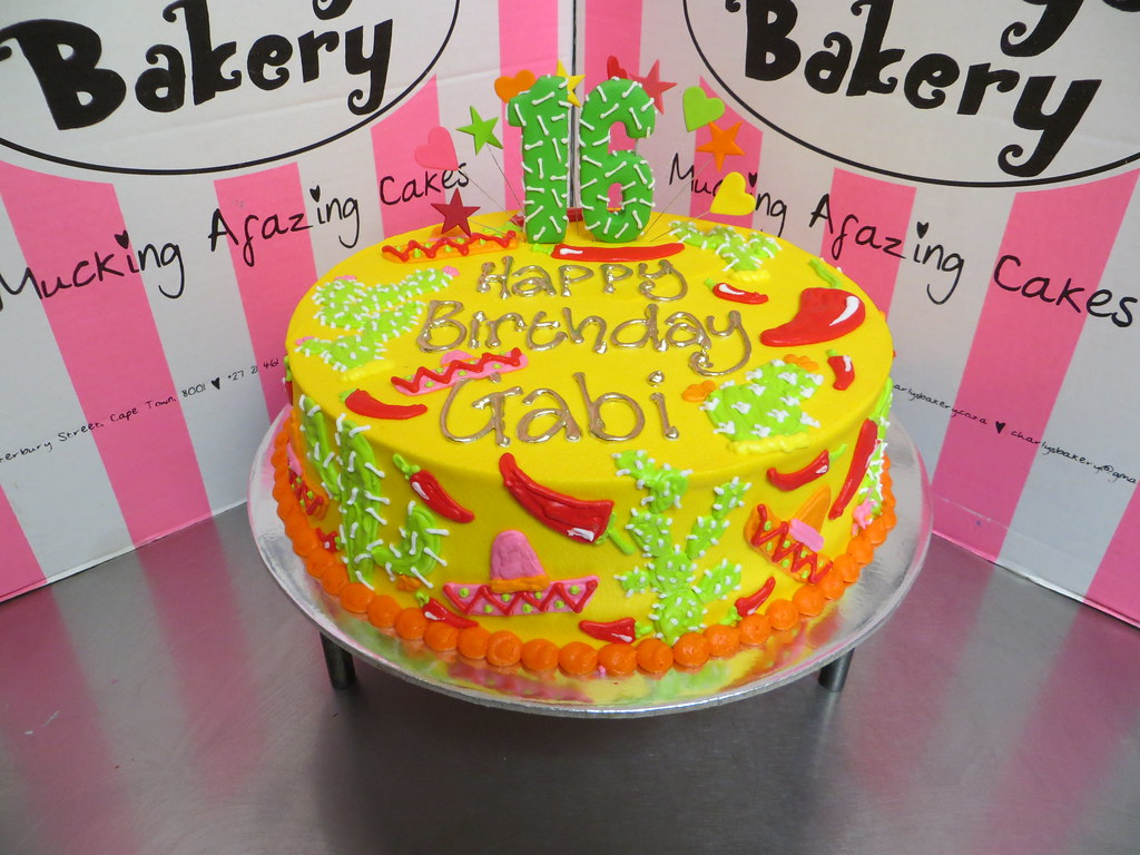 Phenomenal Single Tier Mexican Themed 16Th Birthday Cake In Yellow Bu Flickr Funny Birthday Cards Online Alyptdamsfinfo