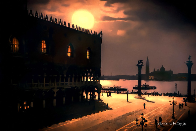 Digital Oil Pastel Drawing of the Piazza San Marco in Moonlight by Charles W. Bailey, Jr.