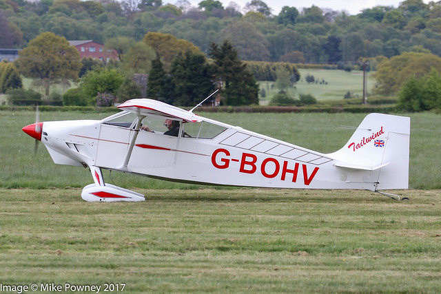 G-BOHV - 1990 build Wittman W8 Tailwind, arriving at Halfpenny Green during Radials, Trainers & Transports 2017