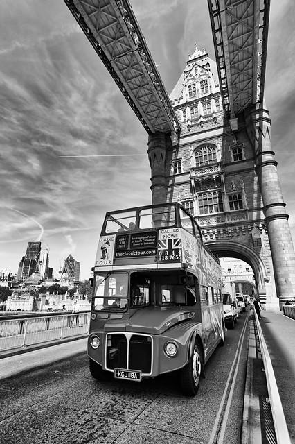 Routemaster crossing Tower Bridge