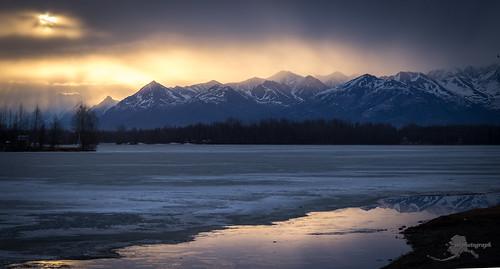 wasillalake sunset alaska panorama