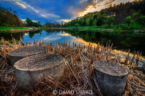 nature deerlakespark landscape sunset wideangle vibrant reflection