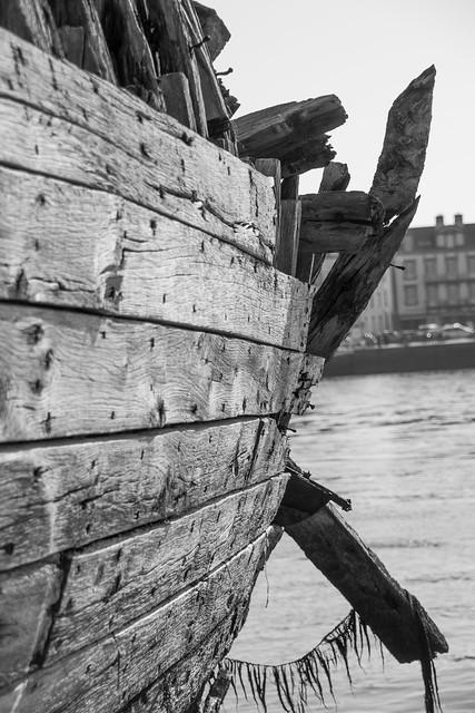 Boat in wood b&w
