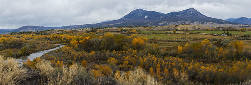 colorado fall autumn foliage colors aspen yellow river panorama storm rain
