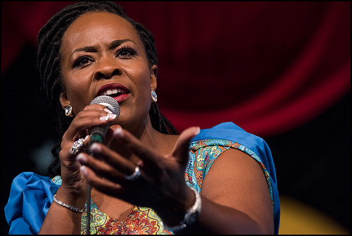 Quiana Lynell and the Lush Life Band at the Jazz Tent during Jazz Fest day 4 on May 4, 2017. Photo by Ryan Hodgson-Rigsbee www.rhrphoto.com