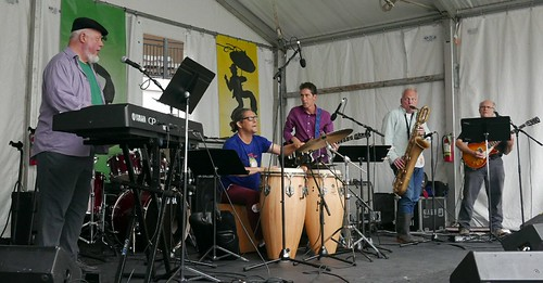 Ed Volker, Michail Skinkus, Rene Coman, Joe Cabral, Camille Baudoin at Jazz Fest 2017. Photo by Black Mold.