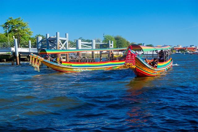 Longtail or Dragon boats on the Chao Phraya river in Bangkok, Thailand