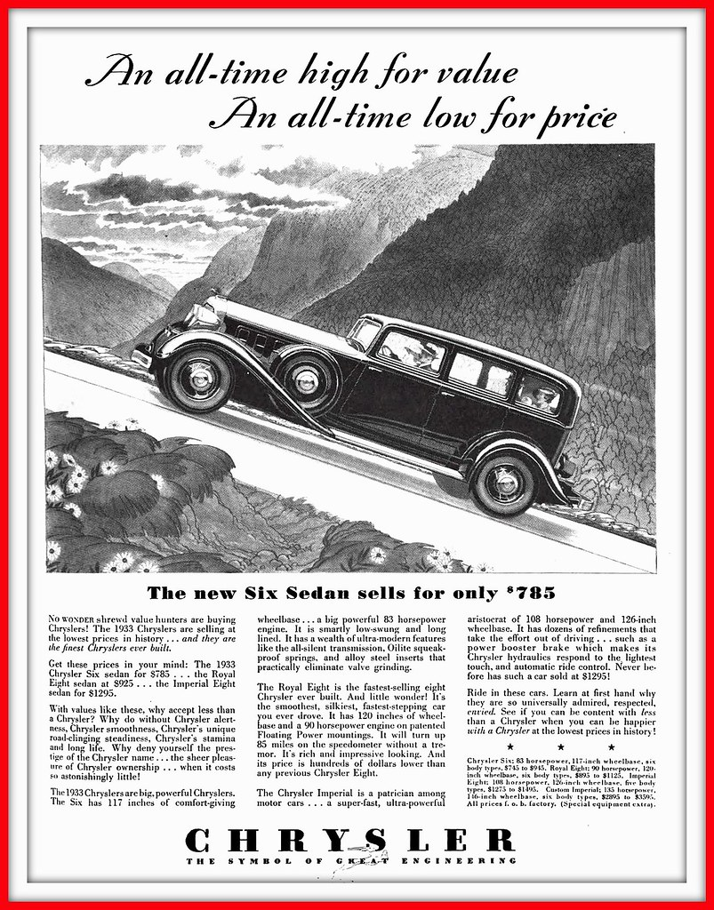 1933 July 10, - The CHRYSLER Six only $785 - 1933 Big and