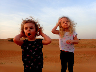 2017 - UAE - Excursion - Morning - Girls on Dunes Paige Yawning | by SeeJulesTravel