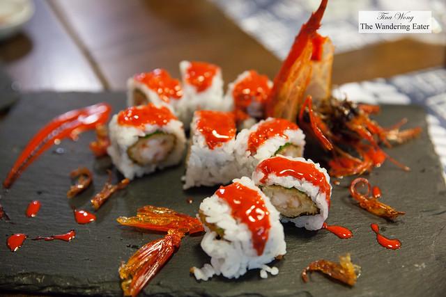Red Dragon Roll - Carabineiro e cebolinho (Deep-sea cardinal prawns