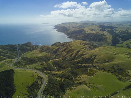 newzealand dunedin dji mavic teeje day aerial wind turbine farm