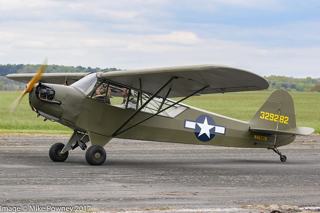 N46779 - 1943 build Piper J3C-65 Cub (L-4A), taxiing for departure at Halfpenny Green during Radials, Trainers & Transports 2017