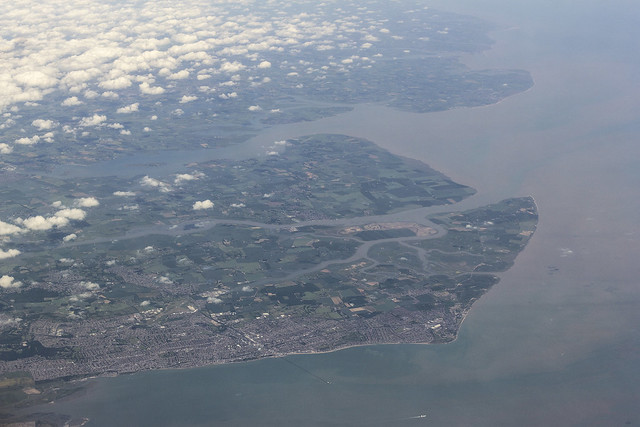 South coast of Essex, UK seen from the air