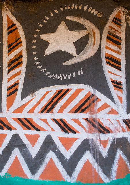 Star and moon on a painted house, Kembata, Alaba Kuito, Ethiopia