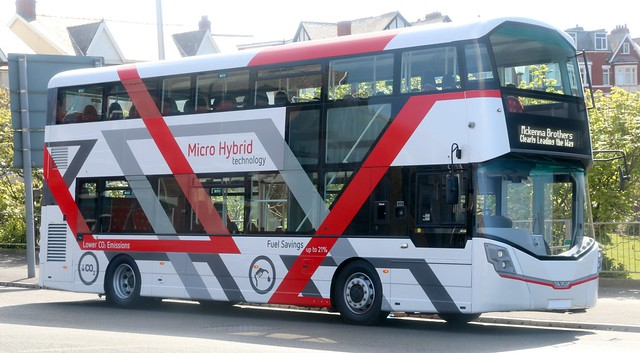 A very striking unregistered Wrightbus StreetDeck micro hybrid technology Demonstrator noted parked up at Gynn Square in Blackpool on Monday 8 May.   Update Aug 2017 now registered SK17HHC.