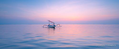 bali karang sunrise jakung boat reflection reflections ocean seascape sanur indonesia