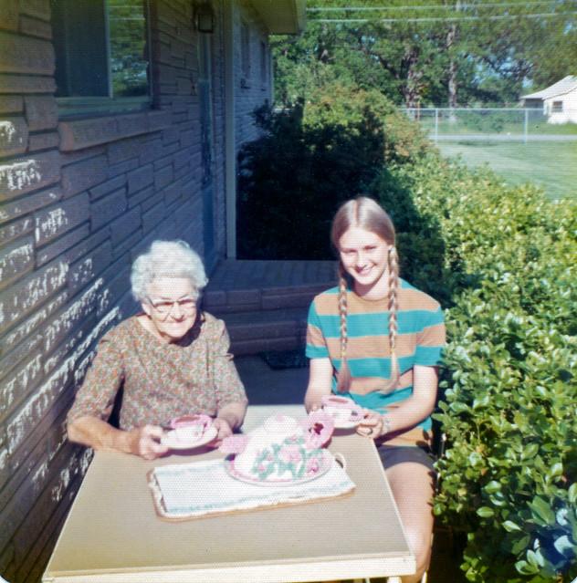 Elderly Woman & Teenage Girl Having Tea, c. 1970