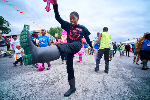 Shrimp boots on! Day 4 of Jazz Fest 2017 - May 4 Photo by Eli Mergel