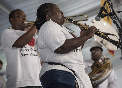 Doreen Ketchens closes out the Economy Hall Tent on Day 4 of Jazz Fest - May 4, 2017. Photo by Marc PoKempner.