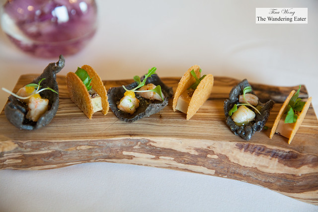 Amuse bouches  - squid ink puffed rice chip, shrimp and basil aioli and Cornbread wafers with foie gras