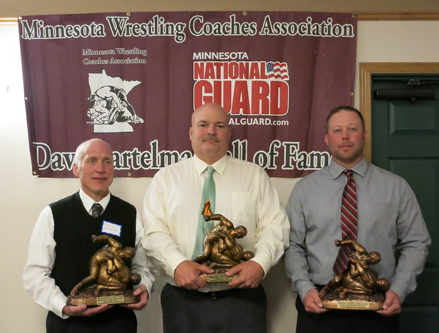 MWCA Coach of the Year honorees - Class AAA-Dalen Wasmund of Apple Valley, Class AA-Chuck Vavrosky of Bloomington Kennedy, and Class A-Brandon Gruchow of West Central Area/Ashby/Brandon-Evansville.
