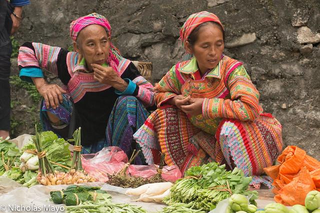 Flowery Hmong Women At Market