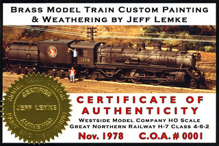Certificate of Authenticity for Brass Model Train Custom Painting & Weathering by Jeff Lemke   by Twin Ports Rail History