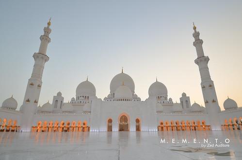 mosque abu dhabi uae syeikh zayed white tiles sunset