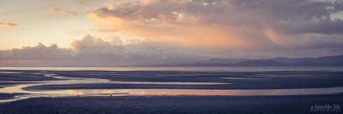 beach clouds evening landscape mountain ocean panorama sand sunset tide parksville britishcolumbia canada ca