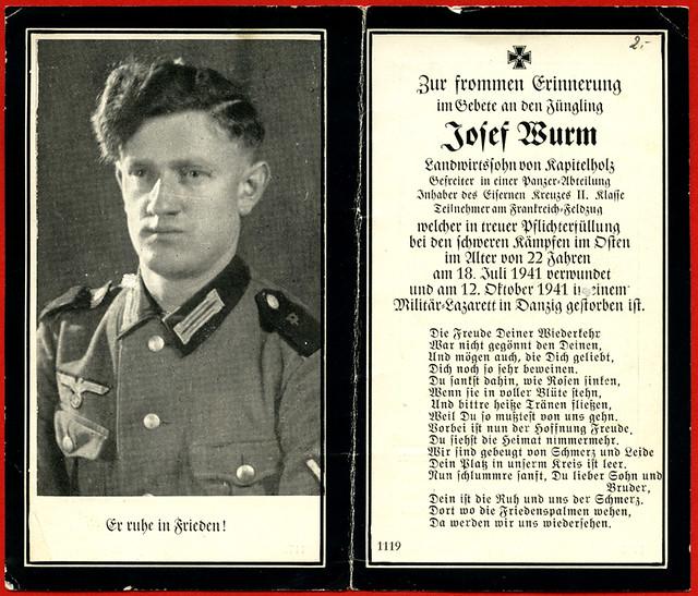 Archiv A106 Sterbebild Josef Wurm, 1941
