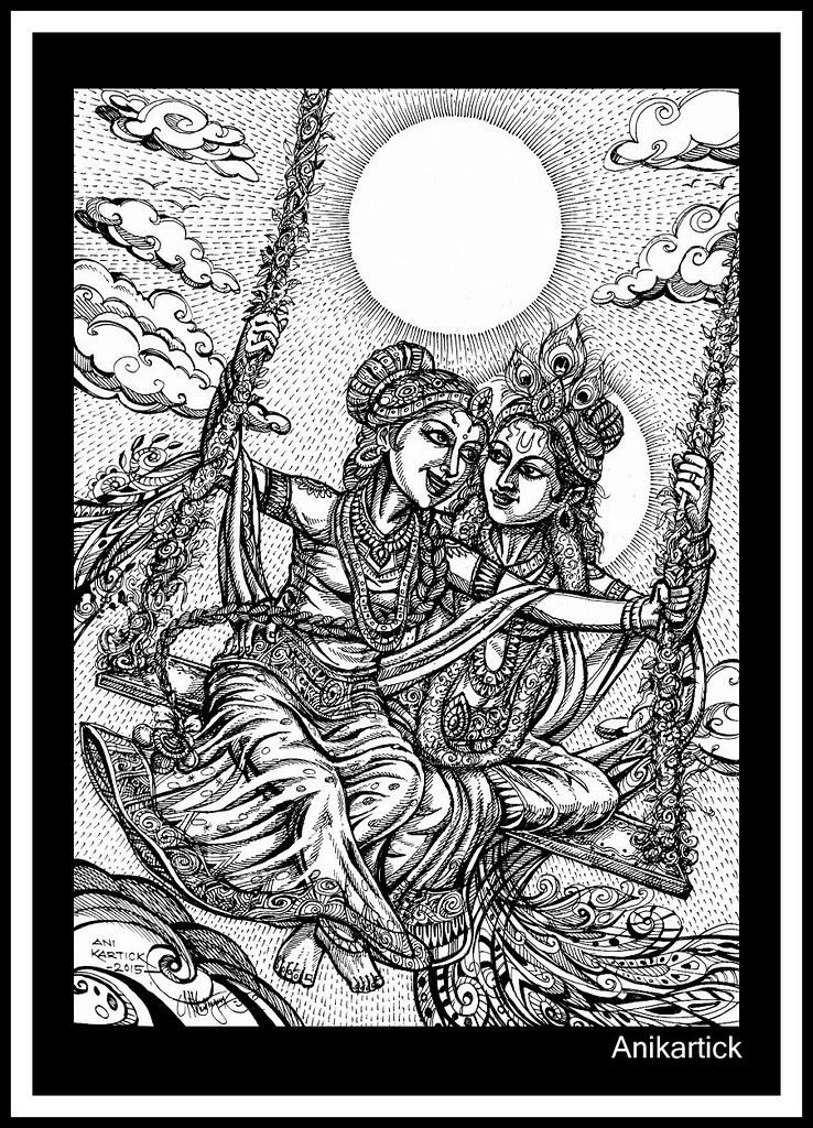 Radha Krishna Art By Anikartick Krishna 1 Kr N S Flickr