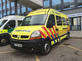 Operated by Heart Medical, Ossett (West Yorkshire) PF06EHG Renault Master with a Urgent Care Ambulance conversion.  New to North West Ambulance Service (U301), seen at Hull Royal Infirmary 02/05/2017 | by alanmagill1959