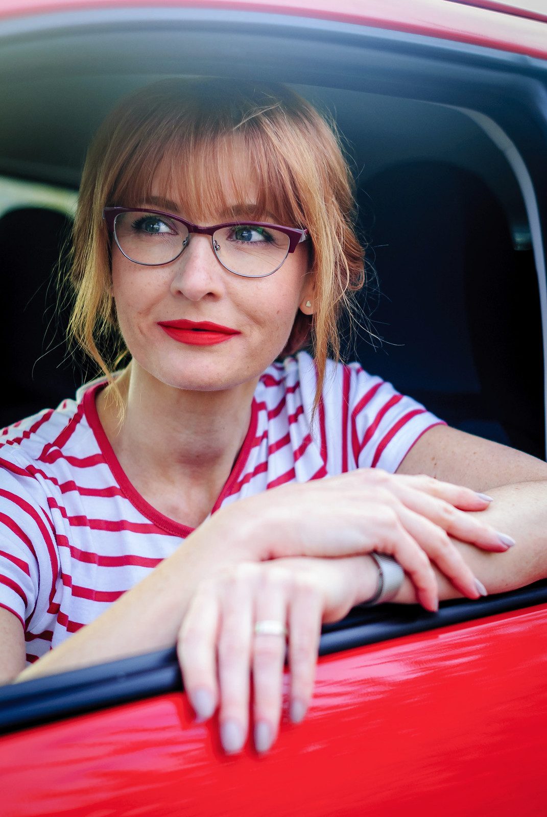 Kenmark eyewear: Spring /summer outfit with on-trend readers \ reading glasses | Not Dressed As Lamb, over 40 style