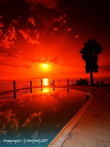 corfu greece sunset cokin filter d5300 nikon pool reflection clouds tree silhouette