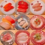 ⭐️ x 7 全体的にピンク色の魚ばっかり😋 #福井 #福井に帰ったら食べたいシリーズ #お寿司 #寿司活 #海鮮アトム #ふくいサーモン #中トロ #漬けマグロ #マグロ #ブリ #ハマチ #かわはぎ #とろサーモン #ビントロ #ブリトロ #ブリ炙り #タコサラダ #シーチキン