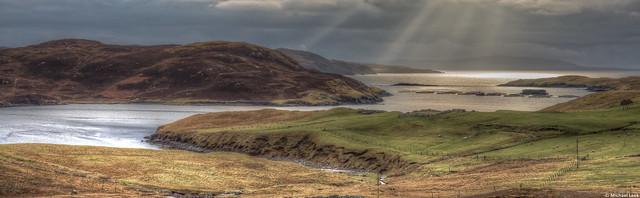 Winter sunlight over Mangaster Voe, Shetland Islands