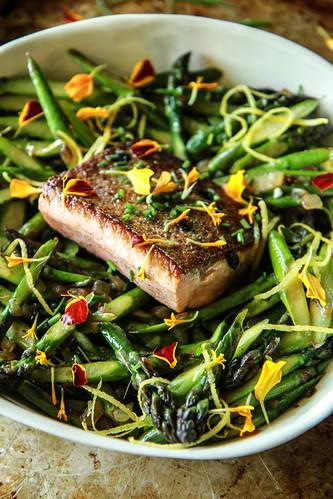 Crispy Salmon and Asparagus Salad with Lemon Honey Garlic Vinaigrette from HeatherChristo.com   by Heather Christo