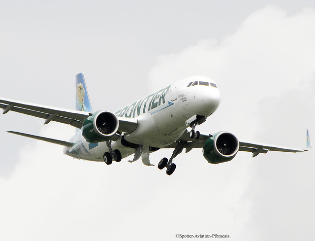 Frontier Airlines. First flight of the Airbus A320 NEO with the new livery