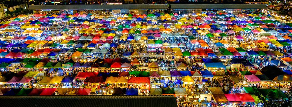 Train Market Ratchada bangkok thailand. Night Market. Coulour full Market. Night barzar