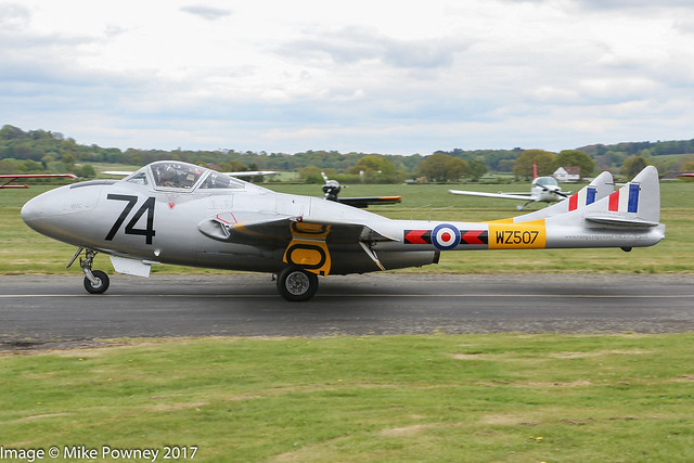 G-VTII/WZ507 - 1954 build de Havilland DH.115 Vampire T.11, arriving at Halfpenny Green during Radials, Trainers & Transports 2017